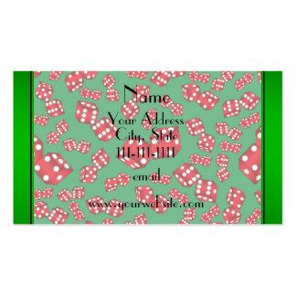 Modelo verde conocido personalizado de los dados tarjetas de visita