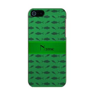 Modelo verde conocido personalizado del atún de funda para iPhone 5 incipio feather shine