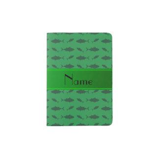 Modelo verde conocido personalizado del atún de porta pasaporte