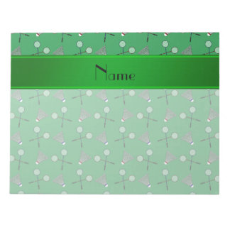 Modelo verde conocido personalizado del bádminton libretas para notas