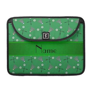 Modelo verde conocido personalizado del bádminton funda para macbooks