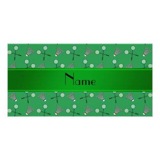 Modelo verde conocido personalizado del bádminton tarjetas fotográficas
