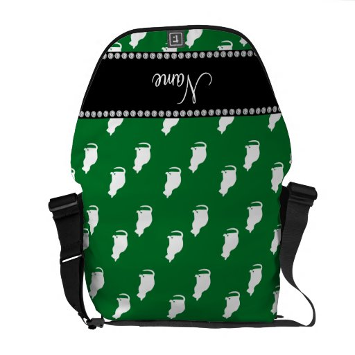 Modelo verde conocido personalizado del gato bolsa de mensajería