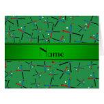 Modelo verde conocido personalizado del hockey hie tarjeta