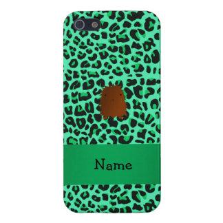 Modelo verde conocido personalizado del leopardo d iPhone 5 carcasas