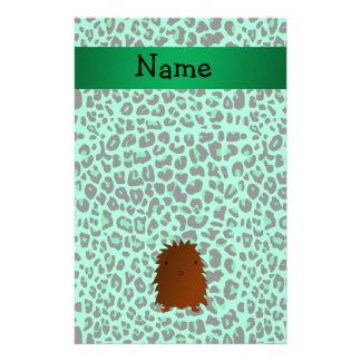 Modelo verde conocido personalizado del leopardo d  papeleria de diseño