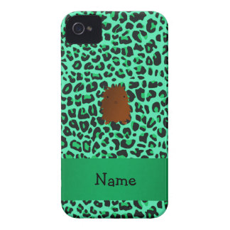 Modelo verde conocido personalizado del leopardo iPhone 4 Case-Mate cobertura
