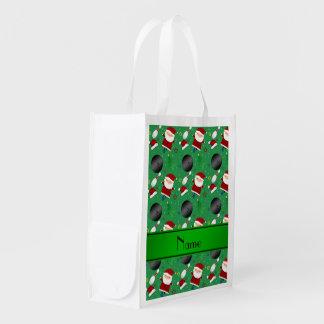 Modelo verde conocido personalizado del navidad de bolsa reutilizable