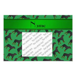 Modelo verde conocido personalizado del perro del cojinete