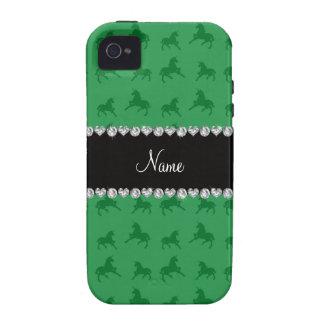 Modelo verde conocido personalizado del unicornio iPhone 4/4S carcasas