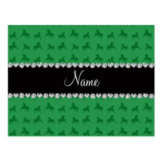 Modelo verde conocido personalizado del unicornio tarjetas postales