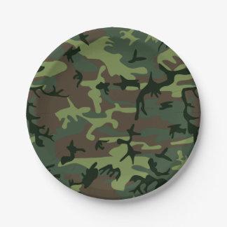 Modelo verde de Camo Brown del camuflaje Platos De Papel