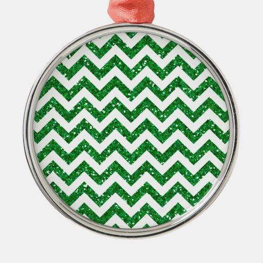 Modelo verde de Chevron del brillo Adornos De Navidad