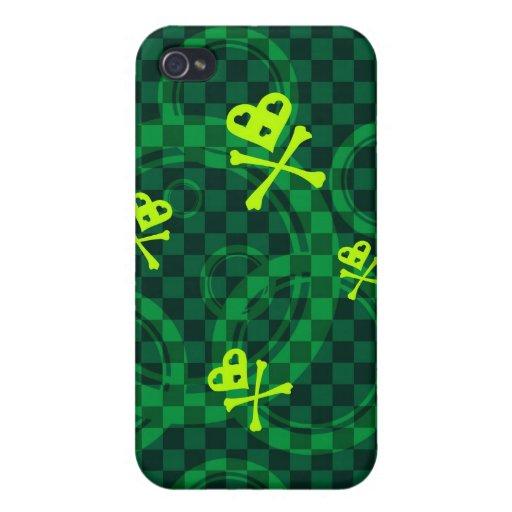 Modelo verde de Emo con los círculos iPhone 4/4S Carcasa