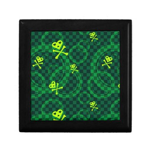 Modelo verde de Emo con los círculos Joyero Cuadrado Pequeño