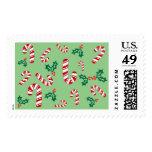 Modelo verde de Hollies del navidad del bastón de Timbre Postal