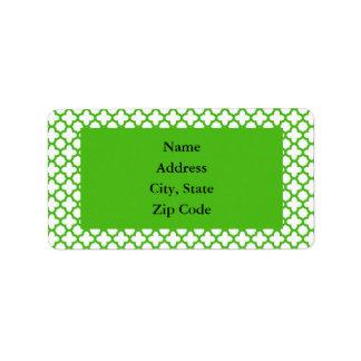 Modelo verde de Kelly Quatrefoil Etiqueta De Dirección