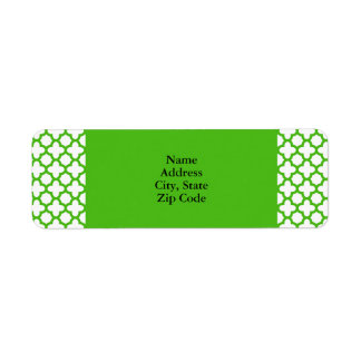 Modelo verde de Kelly Quatrefoil Etiqueta De Remite