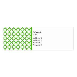 Modelo verde de Kelly Quatrefoil Tarjetas De Visita Mini