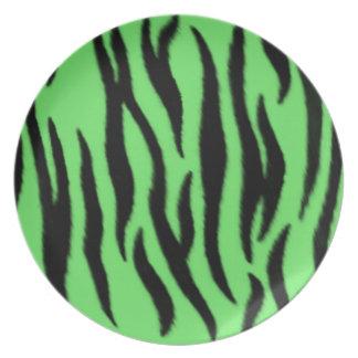Modelo verde de la cebra platos de comidas