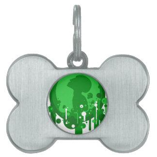 Modelo verde de la esperanza placas de mascota