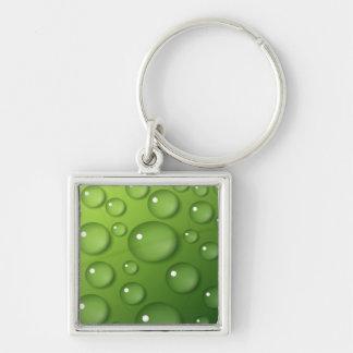 Modelo verde de la gota de agua llavero cuadrado plateado