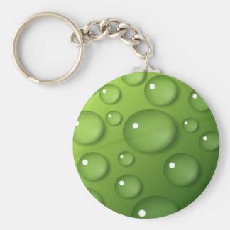 Modelo verde de la gota de agua llavero redondo tipo pin