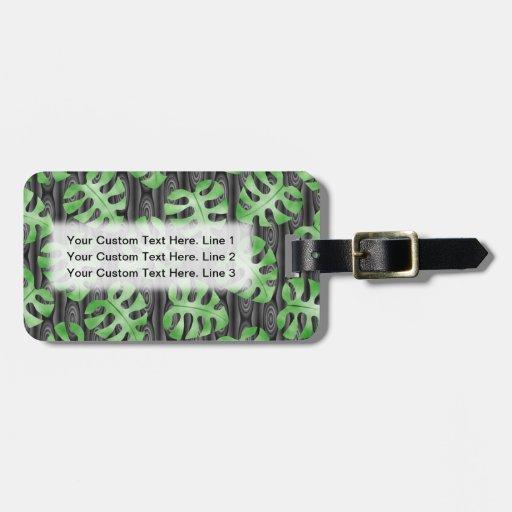 Modelo verde de la hoja etiqueta de maleta