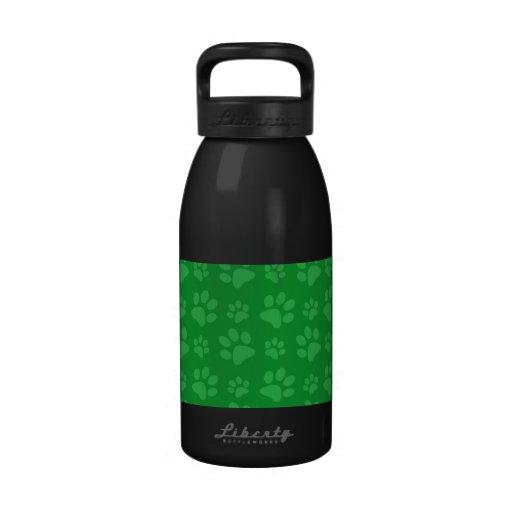 Modelo verde de la impresión de la pata del perro botella de agua reutilizable