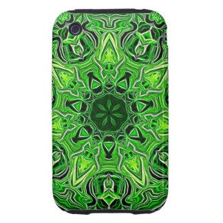Modelo verde de la mandala iPhone 3 tough protectores