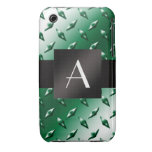 Modelo verde de la placa de acero del diamante del Case-Mate iPhone 3 cárcasa