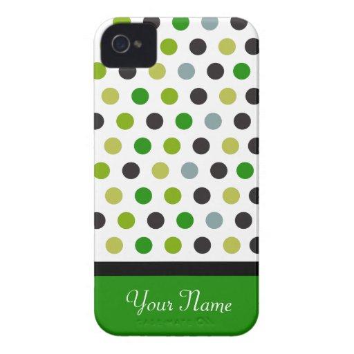 Modelo verde de la raya del lunar Case-Mate iPhone 4 carcasa