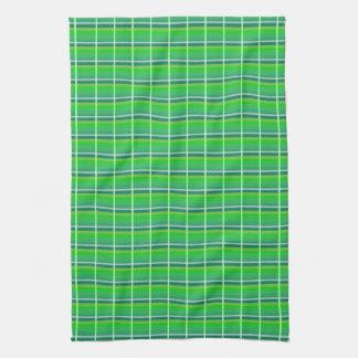 Modelo verde de la tela escocesa con la toalla
