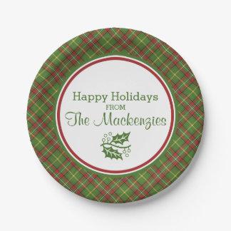 Modelo verde de la tela escocesa del navidad platos de papel