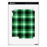Modelo verde de la tela escocesa pegatinas skins para iPad 3