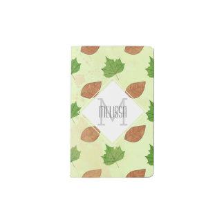 Modelo verde de las hojas de otoño libreta de bolsillo moleskine