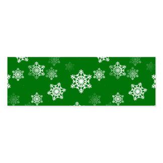 Modelo verde de las ráfagas de nieve del navidad tarjetas de visita mini