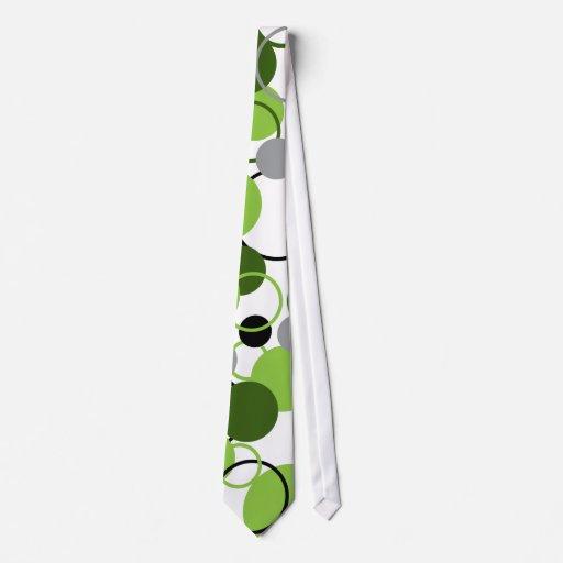 Modelo verde de los círculos corbatas personalizadas