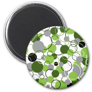 Modelo verde de los círculos imán redondo 5 cm