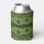 Modelo verde de los copos de nieve del día de enfriador de latas