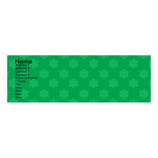 Modelo verde de los copos de nieve tarjeta de visita