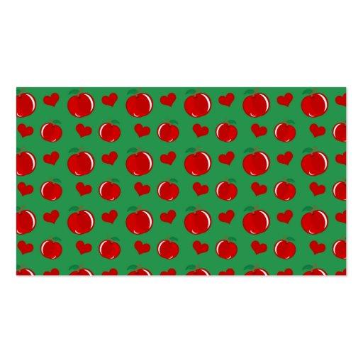 Modelo verde de los corazones de la manzana tarjetas de negocios