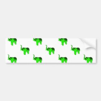 Modelo verde de los elefantes etiqueta de parachoque
