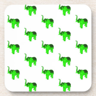 Modelo verde de los elefantes posavasos