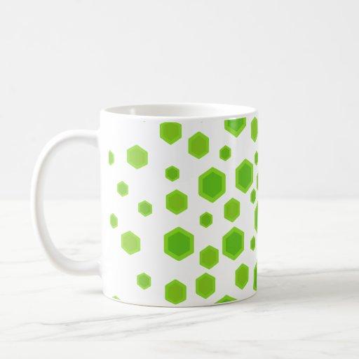 Modelo verde de los hexágonos taza de café