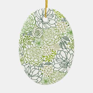 Modelo verde de los succulents adorno navideño ovalado de cerámica