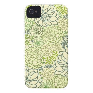 Modelo verde de los succulents Case-Mate iPhone 4 protectores