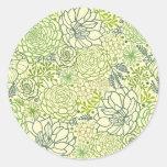 Modelo verde de los succulents etiqueta redonda
