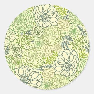 Modelo verde de los succulents pegatina redonda