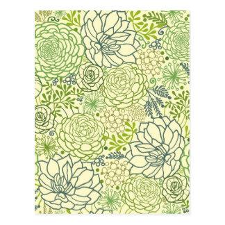Modelo verde de los succulents postal